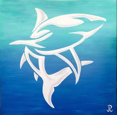Giant tribal shark acrylic painting from Paula Reynolds Art, offered for sale by Shells for Sharks on Etsy.