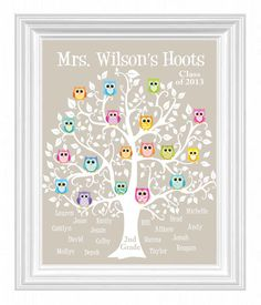 Personalized Teacher Gift - Classroom Kids Names - Teacher Name Print - Owls on Tree- Can customize colors via Etsy
