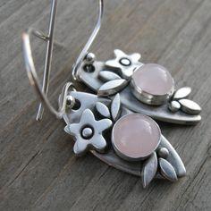 Jessie Casteel -- Sweet Rose Quartz Sterling Silver Earrings PMC Artisan Jewelry. $48.00, via Etsy.