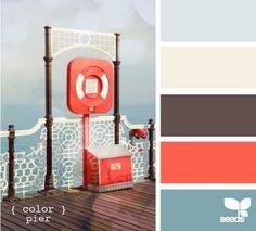 Color Pier color palette by design seeds Colour Schemes, Color Combinations, Pantone, Black Couches, Coral Bedroom, Design Seeds, My New Room, Color Pallets, House Colors