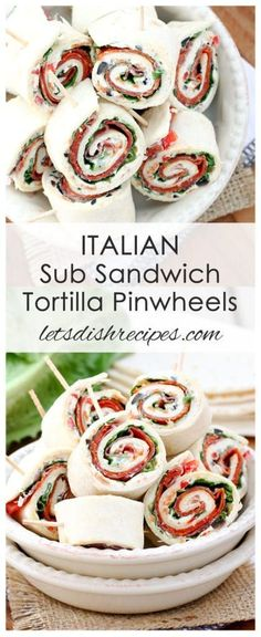 Italian Sub Sandwich Tortilla Pinwheels Recipe   Flour tortillas are layered with a savory cream cheese spread and Italian meats and cheese, then rolled and sliced for the perfect finger food.