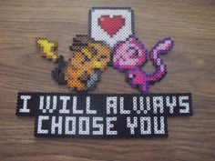 Perler Pokemon Special Message VALENTINE SPECIAL. $15.00, via Etsy.