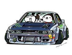 """CRAZY CAR SILVIA"""" original characters """"mame mame rock"""" / © ozizo Official web shop """"STAY CRAZY (in Official web shop """"ozizo(in Redbubble)"""" """"Crazy Car Art"""" Line stickers """"Crazy car Art"""" Telegram stickers Nissan Sentra, Weird Cars, Cool Cars, Jdm Stickers, Telegram Stickers, Carros Vw, Silvia S13, Cool Car Drawings, Car Tattoos"""