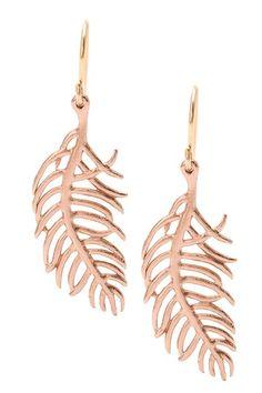 Rose Gold Feather Earrings / Gorjana
