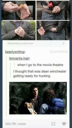 """When I seen Dean putting the Cola in his pants I imagined Sam and Dean before going hunting like: """"Dean are you putting Cola in your pants again?"""" """"No!"""" """"Oh, so I'll be stuck in the Impala with you excited and thinking of Cas?"""" """"... It's Cola, Sam..."""" """"Sure it is, Dean.."""""""