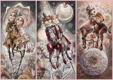 Russian Art, Cat Art, Fairy Tales, Mixed Media, Interior Decorating, Fantasy, Illustration, Painting, Childhood Memories
