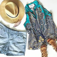 Stitch Fix--Get fabulous looks like this and many more, hand picked for you by your own personal stylist and delivered right to your door with Stitch Fix. Order your first Fix today! Cute Outfits With Shorts, Pretty Outfits, Cool Outfits, Casual Outfits, Fashion Outfits, Fashion Ideas, Summer Outfits, Women's Fashion, Fix Clothing