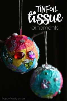 I love, love, love these simple homemade ornaments. Sparkly, colourful and gorgeous, and they're totally easy and inexpensive to make using tin foil and a few gems and jewels. Little kids will love the colourful process!