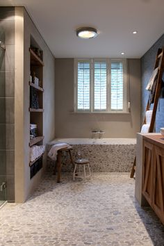 BathRoom. Love the floor and the shelves. Don't love it going up the tub though..