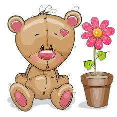 Teddy Bear with Pink Flower....cute!!