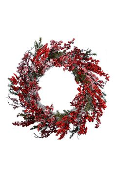 This rustic yet bright wreath adorned in snow-dusted berries will bring a festive touch to the home. Hang on the front door or the wall to add holiday cheer.