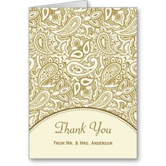 Express heartfelt appreciation to your guests for attending your wedding day ceremony and reception with this elegant gold and ivory paisley damask pattern thank you card. Personalize by adding a special wedding photograph, the name of the bride and groom, and wedding anniversary date to the custom template areas.