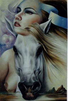 Painting by Carlos Queiroz (Brazil) Woodland Fairy, Horse Art, Four Legged, Optical Illusions, Art Google, Art Images, Surrealism, Goth, Art Gallery