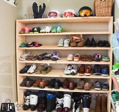 Large shoe rack, super-sized shoe rack, oversized shoe rack, DIY shoe rack, building plans for shoe rack Shoe Shelves, Shoe Storage, Shelving, Storage Ideas, Floating Shelves, Large Shoe Rack, Diy Shoe Rack, Shoe Racks, Shoe Tidy
