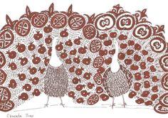 Original sketch TWO decorative PEACOCKS // folk artwork by Elisaveta Sivas // 5,9 x 8,3' (14,9 x 21 cm)