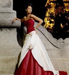 dress red wedding dress