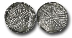 """Hiberno-Norse Kings of Dublin, Phase VI (c.1095-c.1110), Penny, 1.14g., 17mm, """"Very Late and Degraded Imitations of Long Cross Coins"""", stylized head ultimately derived from the Long Cross type of Aethelred II left, crozier (bishops crook) in front, blundered legends,  rev., voided long cross, pellet and sceptre in alternate angles (S.6187, BNJ 1976, Brand #B51 this coin), tiny striking crack just 4 o'clock otherwise a solid full coin, good very fine, scarce Alternate Angles, Penny 1, Dublin, Legends, Coins, Old Things, Personalized Items, Type"""