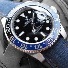 Rolex GMT MASTER II 116710 BLNR, blue & black ceramic bezel on our washed canvas watch band