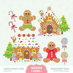Gingerbread House Gingerbread Man Digital Clipart by SSGARDEN, $3.99