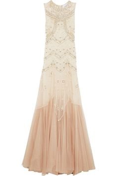 NEEDLE & THREAD Embellished Embroidered Tulle Gown. #needlethread #cloth #dresses