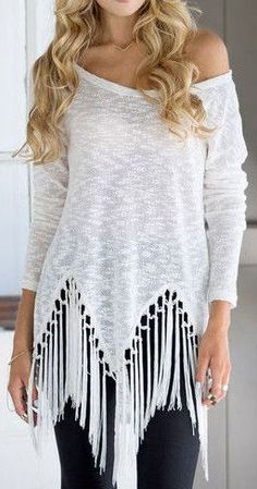Stylish White Tassel Shirt