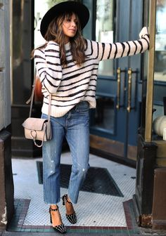 Studded. – Sincerely Jules. Ivory striped sweater+straight denim+black ankle strap studded pumps+nude shoulder bag+black hat. Fall Casual Outfit 2016