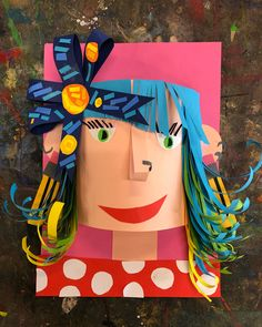 paper self portraits : TEACHER EXAMPLE Kind of obsessed with these Grade 3 4 paper self portraits inspired by Look forward to seeing them completed next week. Arts And Crafts For Teens, Art And Craft Videos, Kids Art Class, Art For Kids, Projects For Kids, Art Projects, 4th Grade Art, Grade 3, Self Portrait Art