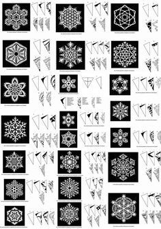 I will be needing lots of snowflake. If anyone would like to start making snowflakes for our VBS ICE Kingdom (In Christ Everlasting) I would love you forever. W (Pour Art For Kids)Snowflake Patterns by sara esterHow to cut beautiful snowflakes! Paper Snowflake Patterns, Paper Snowflakes, Christmas Snowflakes, Christmas Art, Christmas Projects, Christmas Decorations, Snowflake Craft, Christmas Patterns, Crochet Christmas