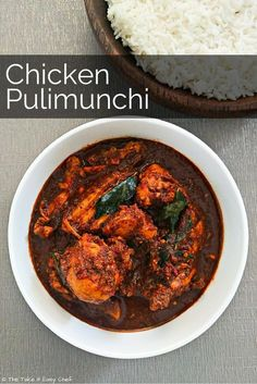 "Chicken Pulimunchi - Hailing from Mangalore, Pulimunchi is a unique balance of flavours. It's tangy from the ""puli"" or tamarind, and mildly hot from an assortment of dry-fried spices.- no onions Indian Chicken Recipes, Veg Recipes, Curry Recipes, Indian Food Recipes, Cooking Recipes, Ethnic Recipes, Chicken Recepies, Recipies, Chicken Snacks"
