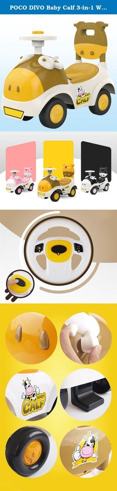 POCO DIVO Baby Calf 3-in-1 Walker Low-seat Ride On Toy Sliding Car Pushing Cart with Sound - Yellow. Baby Calf 3-in-1 Walker Low-seat Ride On Toy Sliding Car Pushing Cart with Sound This Baby Calf sliding car is an adorable ride-on toy for all Kids. Its carton design and simple structure make this toy scooter easy to play and maintenance. The walking handle and anti-falling back brake turn it into an attractive walker too. Even More, under the seat, there is a hidden space for your kid's...