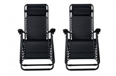 Zero Gravity Chairs Case Of 2 Black Lounge Patio Chairs Outdoor Yard Beach O62 #FDW