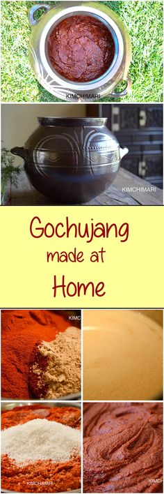 Gochujang made at home! Finding the right ingredients may be a little tricky but it is certainly not too hard to make it at home. Korean Dishes, Korean Food, Dog Food Recipes, Cooking Recipes, Healthy Recipes, Gochujang Recipe, Make Dog Food, Coconut Recipes, Homemade Sauce