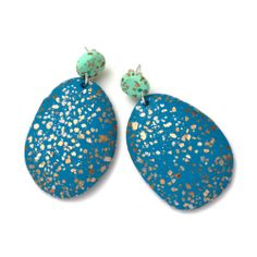 Terrazzo Drop Earrings - Mint & Peacock