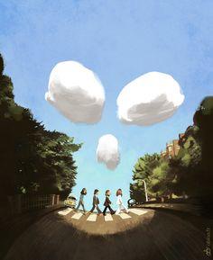 Abbey Road by Obion Abbey Road, Les Beatles, Beatles Art, Beatles Photos, Liverpool, Cool Pictures, Funny Pictures, Funny Ads, Famous Photos