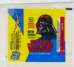 Wax wrappers for the original STAR WARS trading card series from Topps.