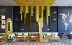 its textural and unexpected. Coffee Shop Design, Cafe Design, Design Shop, Store Design, House Design, Office Wall Design, Modern Office Design, Office Interior Design, Office Interiors