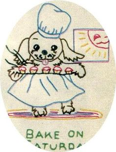 Simplicity 7135 Days of the Week Puppies for Tea Towels. A 1940s hand embroidery pattern.