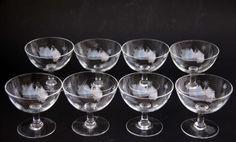 SASAKI JAPAN Glassware Vintage Crystal Champagne or Liquor Glasses Star Burst Hand Etched Pattern Set of 8 on Etsy, £54.60