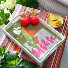 Update a plain tray with a cool and colorful template!