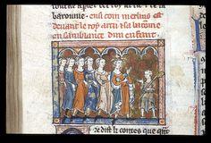 Additional 10292  L'estoire del Saint Graal (ff. 1-76); L'estoire de Merlin (ff. 76-216)  France, N. (Saint-Omer or Tournai); c. 1316 - Merlin stands before King Arthur