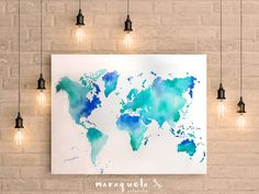 Art Print Watercolor world map hand-made .World map Large Wall Art Print Watercolor Abstract painting Poster Gift Home Decor Birthday gift for her Wedding gift Wall Decor. Mapa mundi acuarela hecho a mano.Colores marinos by Maraquela Watercolor