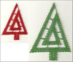 Lace Christmas Tree, Crochet Christmas Decorations, Christmas Ornaments, Bobbin Lace Patterns, Lacemaking, Lace Heart, Tree Patterns, Lace Jewelry, Lace Flowers