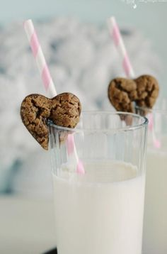 Valentines cookies and milk so cute for kids love the pink and white straw