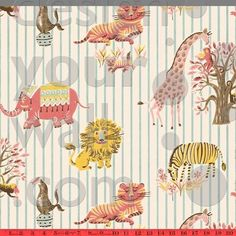 Zoo Animal vintage custom children wallpaper: 057 | Children's Vintage Wallpaper