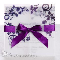 Roamtic Ribbon And Flowers Purple Wedding Invitations