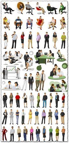 Cartoon business people vectors