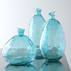 recycled turquoise glass vases