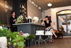 Spruce Flower bar for our on site garden fresh florist