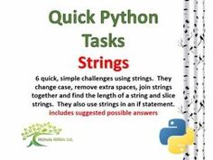 Strings (Quick Python Programming Challenges) by nwilkin - Teaching Resources - TES