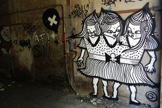 #streetart #goddog  Les Triplettes by - GoddoG -, via Flickr Urban Street Art, Graffiti, Pretty, Dogs, Doggies, Graffiti Illustrations, Pet Dogs, Dog, Street Art Graffiti